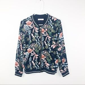Paris Boutique Navy Pink Floral Bomber Jacket